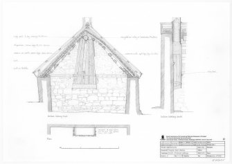 Digital copy of drawing of 'Hangin' lum' detail at cruck-framed cottage, Auchtavan.