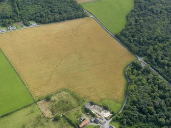 Oblique aerial view centred on the cropmarks of the barrow at Dry Bridge, Islay, taken from the WNW.