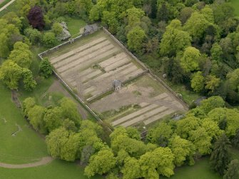 Oblique aerial view centred on the walled garden, taken from the N.