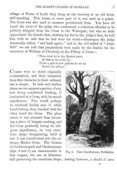 Page 9 of Market-Crosses of Scotland. Includes an engraving of 'Fig. 5. Near Goodlieburn, Perthshire.' Inscribed: ''...village of Water of Leith they hung at the doorway of an old house still standing. This house, or some part of it, was used as a prison. The cross was also used to measure punishment from.''