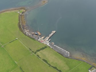 Oblique aerial view centred on the new ferry terminal, taken from the SW.