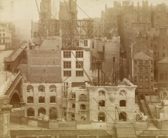 Historic photograph, showing the Scotsman Building under construction