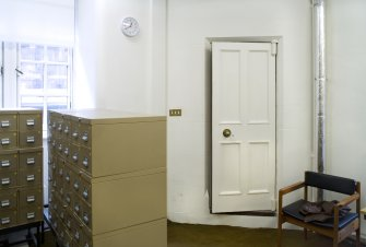 Interior. 1st floor. Reference Archive office. Corner safe.