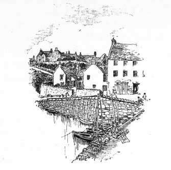 Line drawing illustrating Crail Harbour