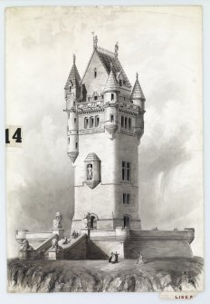 Drawing showing perspective elevation of proposed Wallace Monument, Stirling. Drawing after conservation treatment