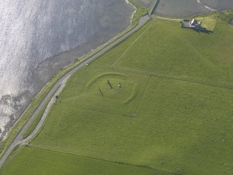 Oblique aerial view centred on the Stones of Stenness, taken from the E.