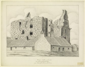Drawing showing castle in ruins from W.