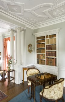 Interior. 1st floor. Drawing room. Columns and bookcase. Detail