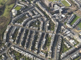 Oblique aerial view centred on the Parsons Green area, taken from the SE.