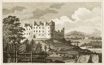 Engraving of Balvenie Castle on a mound above the river, with New House (c. 1722)  in distance.