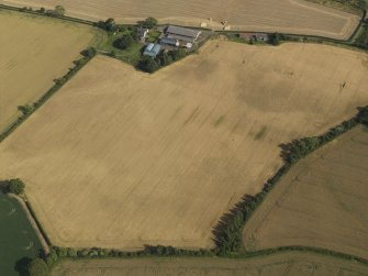 Oblique aerial view of the cropmarks of the round house, pits and possible souterrain with Hoprig Mains, taken from the NW.