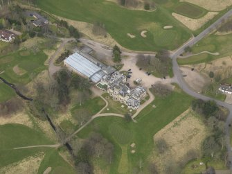 Oblique aerial view centred on the country house (hotel),  taken from the S.