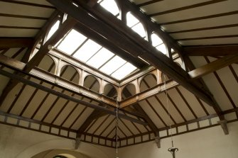 Interior. Ground floor, billiard room, detail of roof structure and skylight