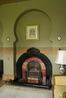 Neilshill House. Ground floor, dining room, view of fireplace
