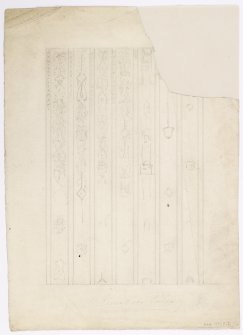 Rough pencil sketch of the ceiling in Riccarton House