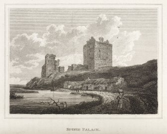 Etching showing  ruins and square tower Inscribed: 'Spinie Palace'