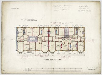Edinburgh, 25 - 42 Woodburn Terrace, Plewlands Estate. Upper floors plan, annotated with signatures. Titled:  'Drawing No 2.' Insc:  'James B. Dunn  arch.  42 Frederick Street  Edinburgh  July 1905.' Insc on verso:  'Tenements  Woodburn Terrace.  Nos 25 to 42.