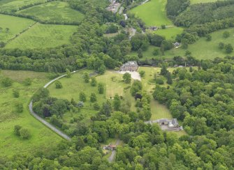 General oblique aerial view of Sorn Castle and policies, taken from the NW.