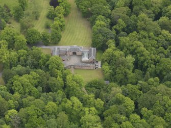 Oblique aerial view of Sorn Castle stables, taken from the WNW.
