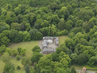Oblique aerial view of Sorn Castle stables, taken from the NNE.