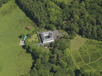 Oblique aerial view of Montgreenan stables, taken from the SW.