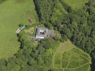 Oblique aerial view of Montgreenan stables, taken from the SSW.