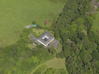 Oblique aerial view of Montgreenan stables, taken from the S.