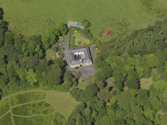 Oblique aerial view of Montgreenan stables, taken from the SE.