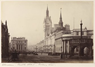 View of Castle Street, Aberdeen, from East.  Titled: 'Aberdeen - Castle Street - looking West'.