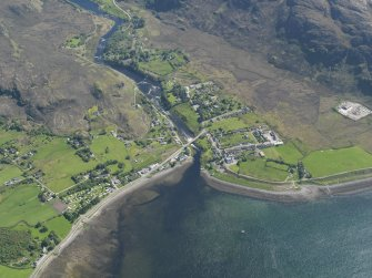 General oblique aerial view of Poolewe, taken from the NNW.