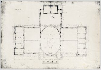 Edinburgh Academy. Plan of principal floor showing dimensions. Titled: 'New High School No.3'  '131 George Street July 4th 1823'