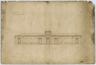 Edinburgh Academy. Elevation of South or principal entrance front. Titled: 'New High School No.4'  '131 George Street July 4th 1823'