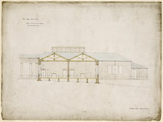 Edinburgh Academy. Lateral section through building to East of centre. Titled: 'New High School. No.7'  '131 George Street July 4th 1823'