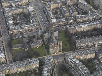 General oblique aerial view centred on the cathedral, taken from the SW.