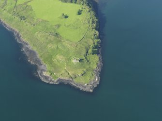 Oblique aerial view of the remains of Ardtornish Castle, taken from the SSW.