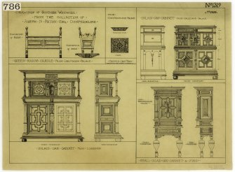 Linlithgow Palace and Lochleven. Drawings of Queen Mary's cradle from Linlithgow Palace and inlaid oak cabinet from Lochleven.