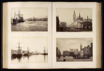 Four  views of Aberdeen. Titled: 'Aberdeen Harbour, looking West'; 'Aberdeen Inner Harbour, looking East'; 'Aberdeen Castle Street, looking West' and 'Aberdeen Castle St, looking East'.