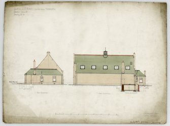 Edinburgh, Albion Road, St. Mungo's Church. Back and side elevations, section. Titled:  'Church Of St Mungo  Easter Road  Edinburgh:  Church Hall &c:  Drawing No 3:'. Insc:  '35 Frederick Street  Edinr  July 1899:'.