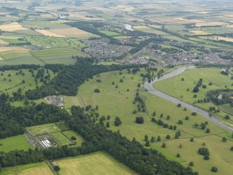 General oblique aerial view looking across Floors Castle and policies towards Kelso, taken from the W.