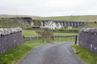 General view of viaduct and Shakend farmstead from E.