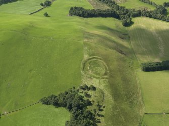 Oblique aerial view of Henderland Hill fort, taken from the NE.