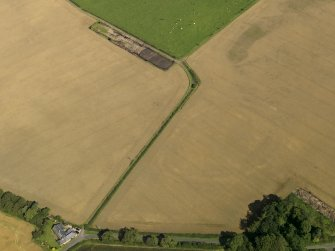 Oblique aerial view of the cropmarks of the settlement with the round house adjacent, taken from the SSW.