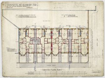 Edinburgh, 25 - 42 Woodburn Terrace, Plewlands Estate, Ground floor plan, annotated with signatures. Titled:  'Tenements At Woodburn Ter For The Scottish Provident Property Coy.  North Feu  Drawing No 1.' Insc:  'James B. Dunn  architect.  42 Frederick Street  Edinburgh  July 1905.' Insc on verso:  'Woodburn Ter Tenements.'
