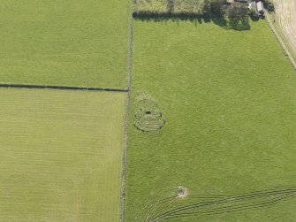 Oblique aerial view of the remains of the recumbent stone circle at Aquhorthies, taken from the N.