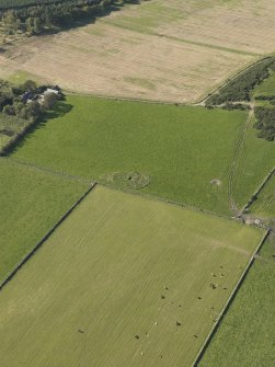 General oblique aerial view of the remains of the recumbent stone circle at Aquhorthies, taken from the ENE.