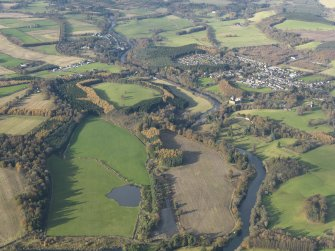 General oblique aerial view looking along the River Teith towards Doune Castle and village, taken from the SSE.