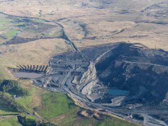 Oblique aerial view of the Boghead open cast mine, taken from the NW.