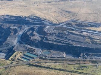 Oblique aerial view of the Boghead open cast mine, taken from the NE.