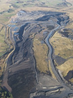 General oblique aerial view of the Boghead open cast mine, taken from the SW.