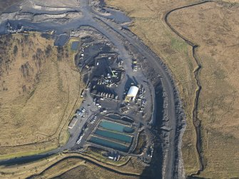Oblique aerial view of the Boghead open cast mine, taken from the SW.